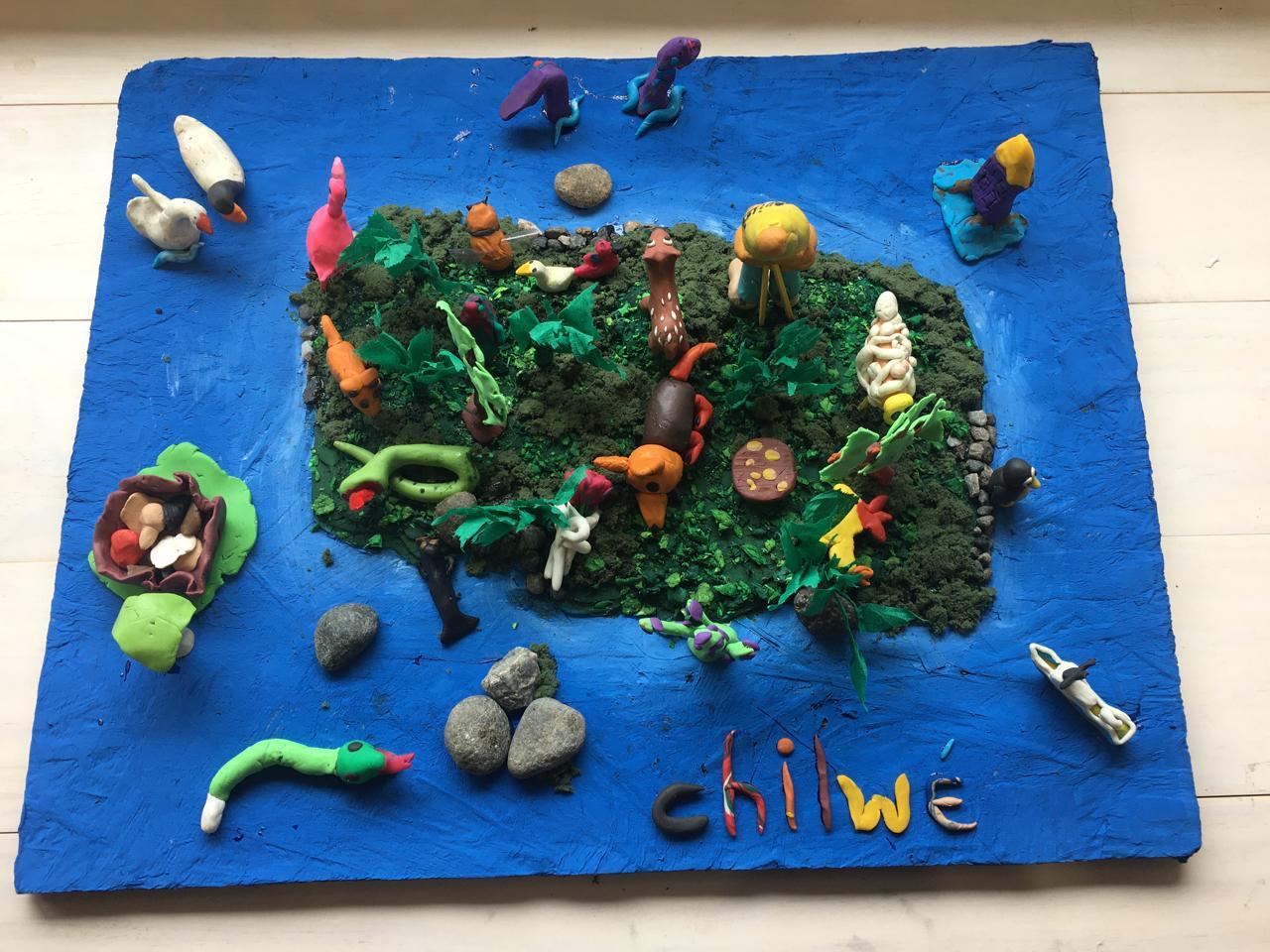 Obra desarrollada por niños, en el marco de los talleres realizados durante la exposición